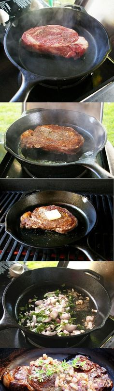 How to Cook the Perfect Steak in a Cast Iron Pan How to Cook the Perfect Restaurant Steak on your Backyard Grill.How to Cook the Perfect Restaurant Steak on your Backyard Grill. Cast Iron Skillet Cooking, Iron Skillet Recipes, Cast Iron Recipes, Steak In Iron Skillet, Cast Iron Steak Oven, Cast Iron Pans, Cast Iron Chicken Recipes, Grill Skillet, Skillet Food