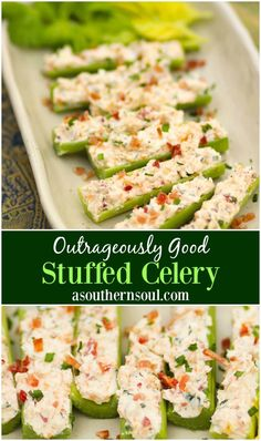Celery sticks stuffed with cream cheese, bacon, herbs and cheddar cheese are outrageously good! Served as an appetizer or snack, this is a recipe that's sure to become a favorite at parties, cookouts and family gatherings. #stuffedcelery #celery #appetizer #easyrecipe #creamcheeseappetizer #bacon #snacks #partyfood #cocktails