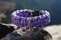 Pink and Blue Paracord bracelet with Kayak Charm Made in USA
