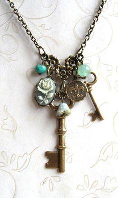 Garden key necklace charm sage green fleur de lis