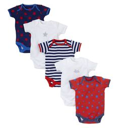 Mothercare Short Sleeve Bodysuits - 5 Pack