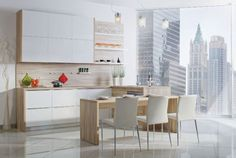 Modern thermofoil doors and a view of a beautiful city! What else do you need?