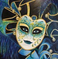 Venetiaans masker blauw. Olieverf op 3D doek 100x100cm.