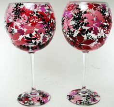 Hand Painted Glassware  Pink Flowers by RaveOnDesigns on Etsy