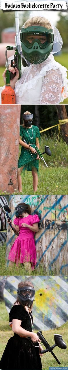 Paintball competition between the two hens parties. Girls to wear op-shop formal dresses or all in opshop wedding dresses...competition could involve protecting the brides to be...ultimate prize taking her down....