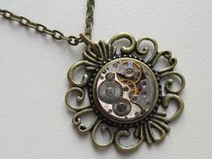 Steampunk Gothic filigree necklace  with the smallest by Timewatch, $29.00