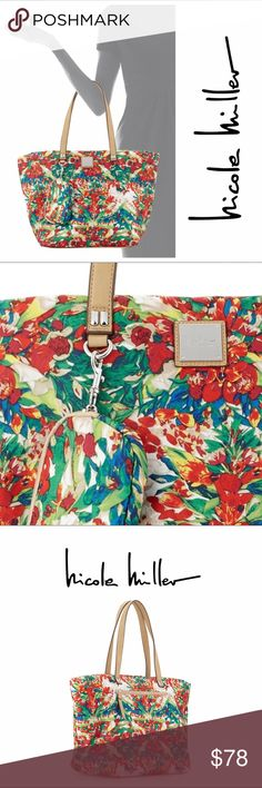 EUC: Nicole Miller Zip-Closure Nylon Tote + Pouch Nicole Miller floral-print nylon tote bag with faux leather trim. Silvertone hardware. Flat top handles with hanging zip pouch, 8.5\