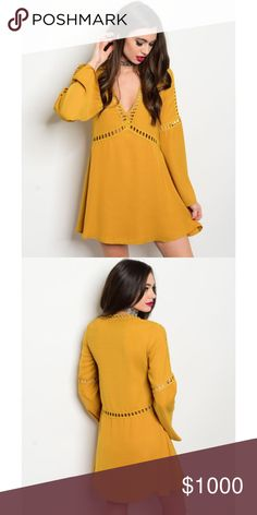 COMING SOON! Mustard Tunic Dress & Crochet Details COMING SOON! Mustard Tunic Dress with Bell Sleeves & Crochet Details. Fabric 100% polyester. Please like to be notified. No Trades. Price is Firm Unless Bundled. GlamVault Dresses