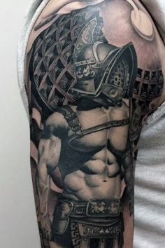 What does gladiator tattoo mean? We have gladiator tattoo ideas, designs, symbolism and we explain the meaning behind the tattoo. Japanese Sleeve Tattoos, Best Sleeve Tattoos, Leg Tattoos, Arm Band Tattoo, Black Tattoos, Tattoos For Guys, Tattos, Gladiator Tattoo, Warrior Tattoos