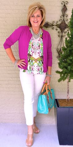 50 IS NOT OLD | QUEEN OF COLOR | Orchid | Color makes me feel good | Cardigan | Fashion over 40 for the everyday woman