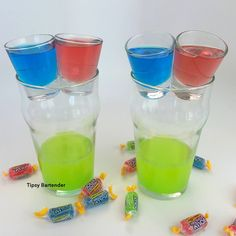 Check out our Jolly Rancher Skull Crusher Shots!  We dare you to try one! Recipe? Click here! http://www.tipsybartender.com/blog/jolly-rancher-skull-crusher-shot
