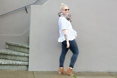 Fur scarf outfit and bun.  Non basic fur (hint: it involves ruffles). | Non Basic Blonde