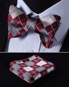 Silver and Red Bow Tie with Pocket Square