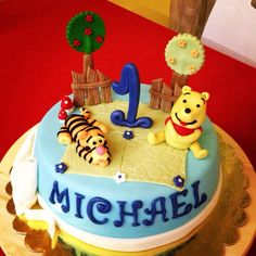 Winnie the pooh and Tiger cake... Happy birthday Michael!