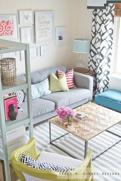 #sarahdorseydesigns colorful living room, patterns and pops of color, #familyfriendlydesign