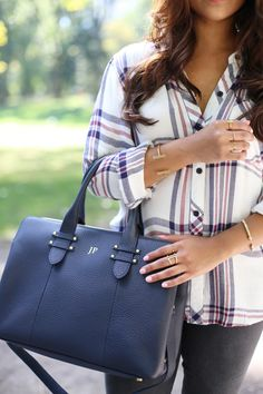 GiGi New York | Haute Off The Rack Fashion Blog | Navy Parker Satchel