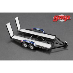 """Tandem Car Trailer with Tire Rack """"Ford"""" for Scale Model Cars by GMP Car Trailer, Trailer Hitch, Free Trailer, Trailers, Tire Rack, Car Guide, Model Cars Kits, Custom Baggers, Ford Classic Cars"""