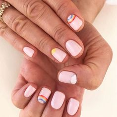23 Beautiful Nail Art Designs and French Manicure in Acrylic and Gel polish.Trending summer nail pattern. Blue, Pink, Purples Rainbow, Coral, Floral colors.  Every colour of rainbow. This is so cute and simple. Represents cloud and rainbow colours of summer.