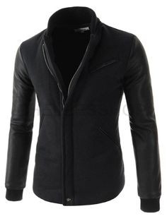 (OPJ01-BLACK) Mens Slim Fit China Collar Quilting Arm Synthetic Leather Patched Jacket