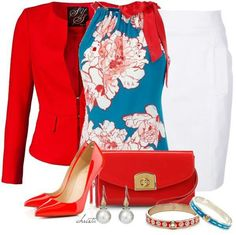 Flower print blue blouse, red jacket and accessories, white skirt