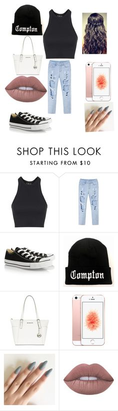 """""""Untitled #8"""" by robertsjanae ❤ liked on Polyvore featuring Topshop, Converse, MICHAEL Michael Kors and Lime Crime"""