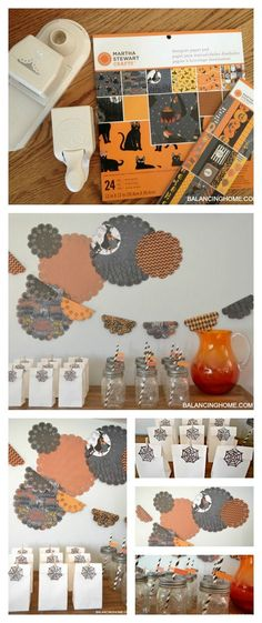 Halloween drink & goodie station for a fun simple party idea. DIY crafts and treat bags.