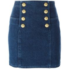 Balmain button detail mini skirt (1,285 CAD) ❤ liked on Polyvore featuring skirts, mini skirts, blue, mini skirt, balmain, blue mini skirt, short skirts and button front skirt