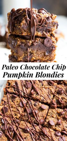 These fudgy pumpkin blondies are chewy, sweet, packed with chocolate and warm spices. These pumpkin blondies are paleo, dairy-free, and gluten-free. Paleo Baking, Gluten Free Baking, Baking Recipes, Paleo Recipes, Kids Baking, Pumpkin Recipes, Baking Ideas, Free Recipes, Clean Eating Desserts