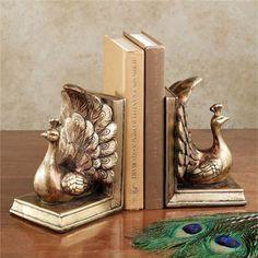 Regal Peacock Decorative Bookend Pair