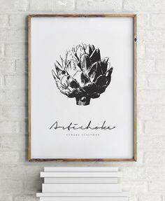 Artichoke Print - PRINTABLE FILE. Graphic Botanic Print. Kitchen Wall Art. Vintage Modern Print. Minimal Scandinavian Style Vegetable Print. by ILKADesign on Etsy https://www.etsy.com/ca/listing/294364653/artichoke-print-printable-file-graphic