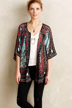 Fluttered Silk Kimono Cardigan #anthropologie - Really loud for me, but I like it. Love the longer necklace as well