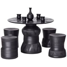 """Imbizo"", Carved Ebonized Timber and Clay Stool and Table Set by Chuma Maweni 