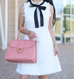 tweed bow tie neck dress, work outfit, petite work outfits, petite fashion blog, pebbled leather top handle satchel, click the photo for outfit details!