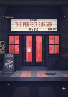 The Perfect Burger - Thomas Danthony Illustration Building Illustration, Flat Illustration, Graphic Design Illustration, Digital Illustration, Graphic Art, Landscape Illustration, Thomas Danthony, Posca Art, Art Graphique