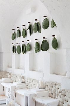 Prickly pear (Opuntia ficus-indica) leaves (cladodes) hang as decoration in total-white main room, Masseria Cimino, Puglia, Italy Deco Restaurant, Restaurant Design, Cactus Restaurant, Commercial Design, Commercial Interiors, Design Hotel, House Design, Spa Interior Design, Interior Architecture