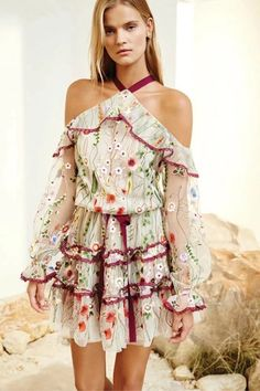 f6c045839a07 off Shoulder Long Sleeve Floral Embroidery Mesh Romper - OASAP.com