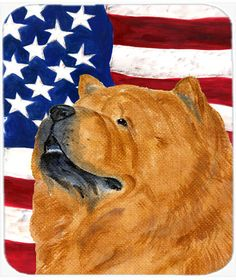 USA American Flag with Chow Chow Mouse Pad, Hot Pad or Trivet