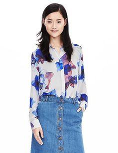 Dillon-Fit Watercolor Floral Shirt