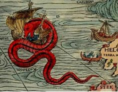 """""""Sea monster"""". A very small detail from Carta marina, a wallmap of Scandinavia, by Olaus Magnus, 1539."""