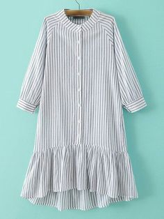 To find out about the Grey Stripe Buttons Front Ruffle Hem Dress at SHEIN, part of our latest Dresses ready to shop online today! Muslim Fashion, Modest Fashion, Hijab Fashion, Fashion Dresses, Stylish Dresses, Simple Dresses, Casual Dresses, Kurta Designs, Blouse Designs