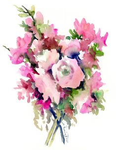 Buy Pink floral bouquet, Watercolor by Suren Nersisyan on Artfinder. Discover thousands of other original paintings, prints, sculptures and photography from independent artists. Floral Bouquets, Floral Wreath, Watercolor Flowers, Watercolour, Paper Tags, Lovers Art, Buy Art, Original Paintings, Sculptures