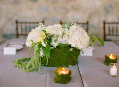 Moss Covered Urn With White Hydrangeas | photography by http://www.msp-photography.com/