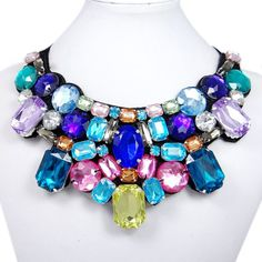 Sparkly Multi Rhinestone Statement Necklace by BellaJewelry4u, $9.99