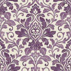Plum Purple / Cream - 414602 - Mozart - Damask - Arthouse Wallpaper | eBay bought this for my bedroom!