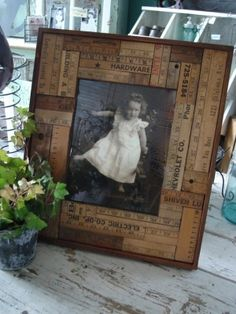 Picture frame matting....old ruler pieces. Love this idea.
