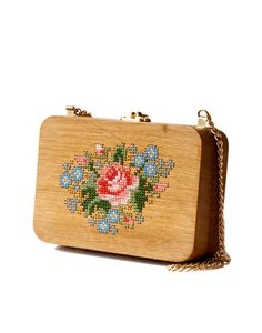 Wooden Purse with handmade cross stitch pattern.