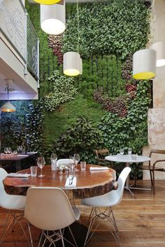 More plant-based designs in a restaurant. Is your restaurant doing something sim. More plant-based designs in a restaurant. Is your restaurant doing something sim. More plant-based designs in a restaurant. Is your restaurant doing something similar? Design Bar Restaurant, Decoration Restaurant, Deco Restaurant, Luxury Restaurant, Courtyard Restaurant, Restaurant Lighting, Restaurant Interiors, Hotel Decor, Café Design
