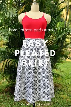 Easy pleated skirt pattern, FREE sew-along: Part 1 - https://sewing4free.com/easy-pleated-skirt-pattern-part-1/