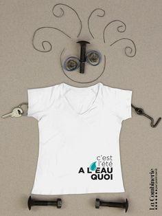 A l'eau quoi – T-shirt col en V | La Combinerie T Shirt, Mens Tops, T Shirt With Collar, Boutique Online Shopping, Water, Women's, White People, Supreme T Shirt, Tee