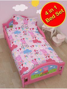 Peppa Pig Tweet 4 in 1 Junior Rotary Bedding Bundle Set (Duvet + Pillow + Covers)